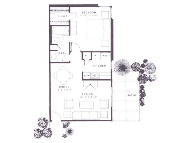 650 sq. ft. A6 floor plan