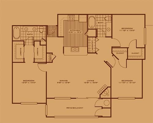 1,432 sq. ft. C1 floor plan