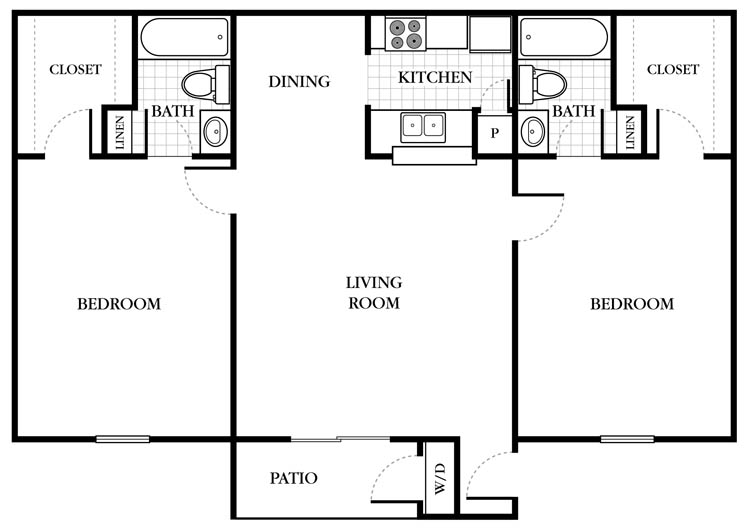 924 sq. ft. Bromley floor plan