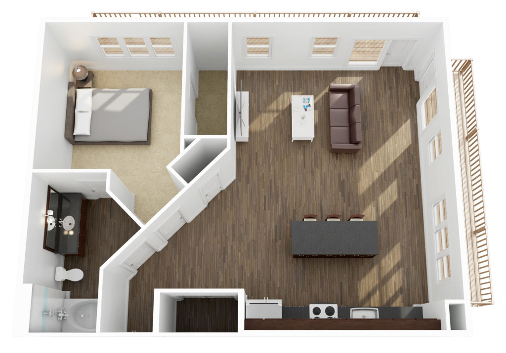 893 sq. ft. A6 floor plan