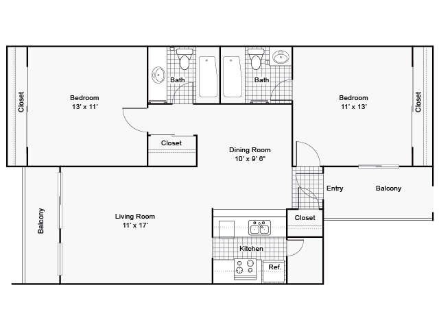 1,075 sq. ft. I B-3 floor plan