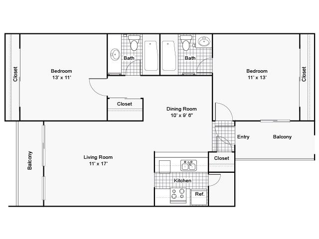 1,075 sq. ft. I B-3 floor plan