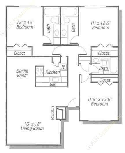 1,298 sq. ft. C/C1 floor plan