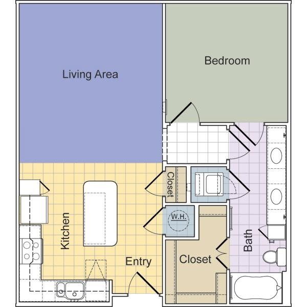 803 sq. ft. to 888 sq. ft. Stanton (A1D) floor plan