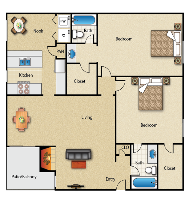 1,215 sq. ft. 2C floor plan