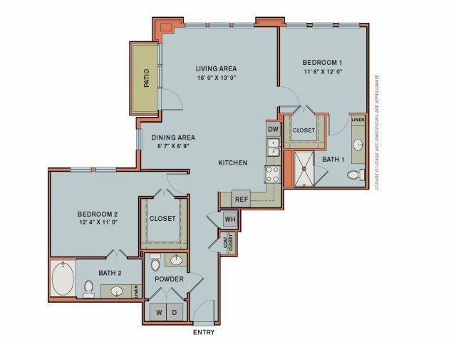 1,194 sq. ft. 3B2 floor plan