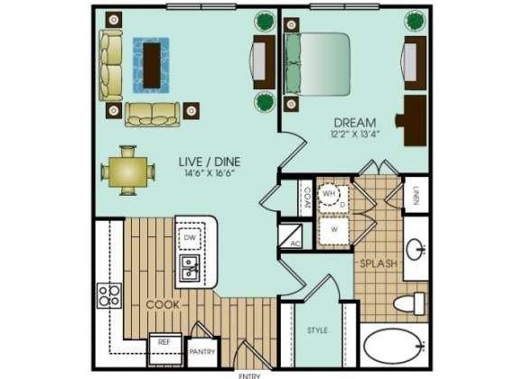 760 sq. ft. A9 floor plan