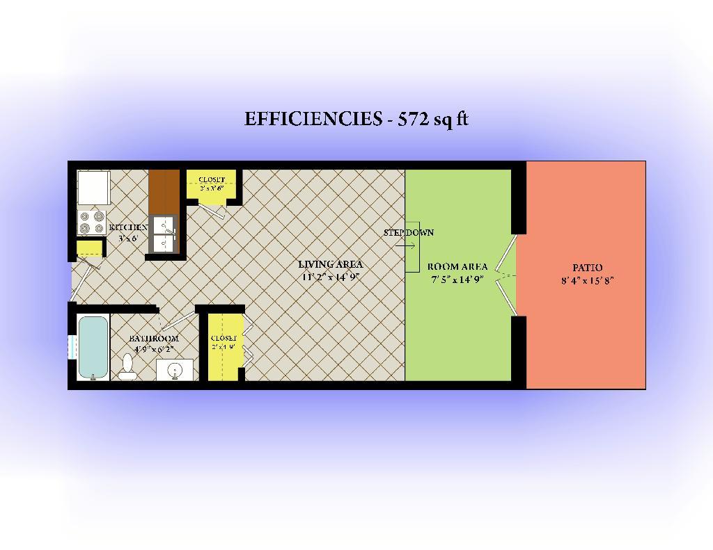 572 sq. ft. floor plan