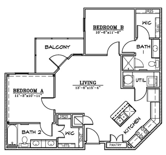 921 sq. ft. B6/A floor plan