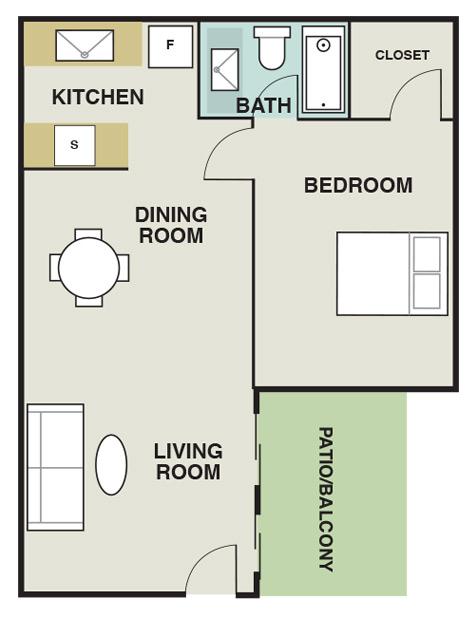 595 sq. ft. A2 floor plan
