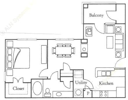 750 sq. ft. Marigold floor plan