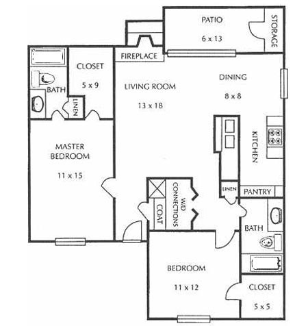 1,012 sq. ft. F floor plan