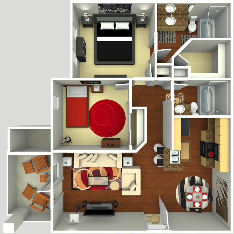 966 sq. ft. B2 floor plan