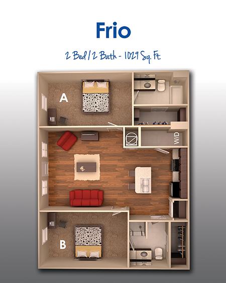 1,029 sq. ft. F floor plan