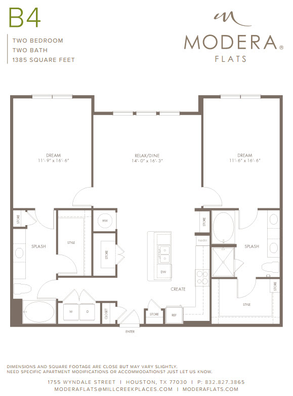 1,385 sq. ft. B4 floor plan