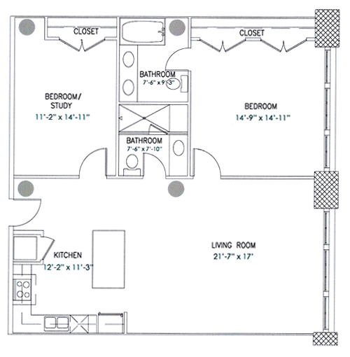 1,254 sq. ft. Barnum floor plan