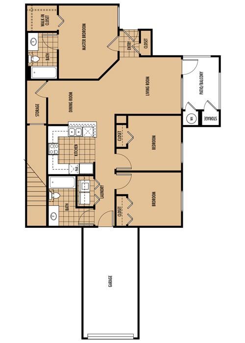 1,142 sq. ft. C1-C2 floor plan