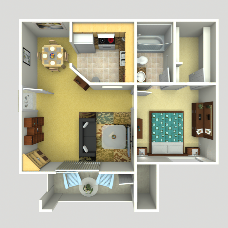 583 sq. ft. AJ-3 floor plan