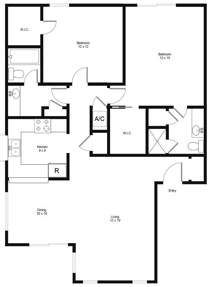 1,151 sq. ft. B4 floor plan