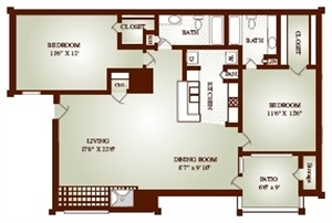 1,001 sq. ft. 22B floor plan
