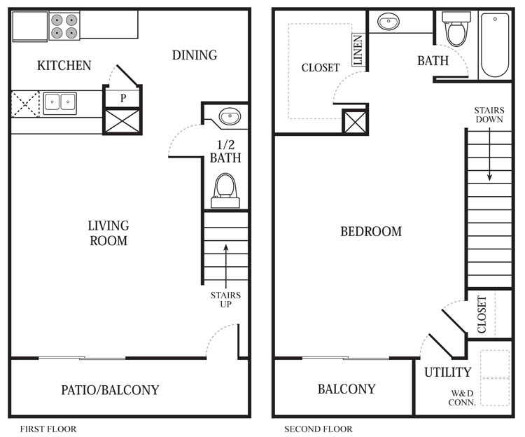 816 sq. ft. A6 floor plan