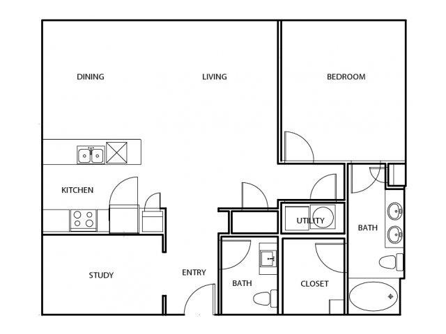 1,162 sq. ft. A8-1-E floor plan