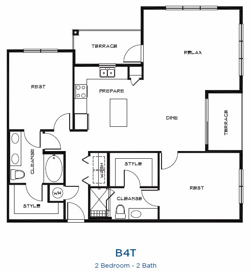 1,417 sq. ft. B4t floor plan