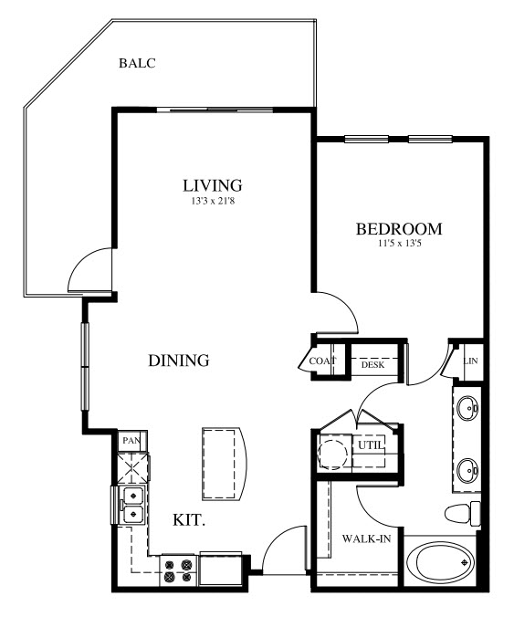 842 sq. ft. A2 floor plan