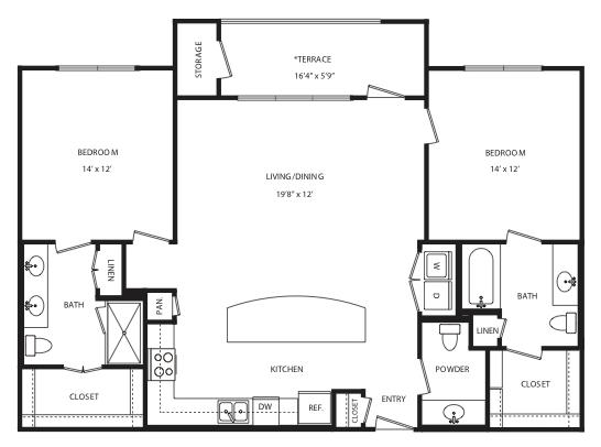 1,283 sq. ft. B15 floor plan