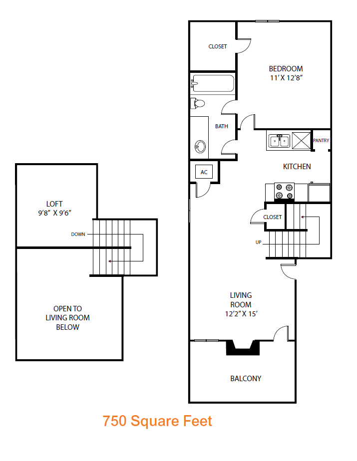 750 sq. ft. Birch floor plan