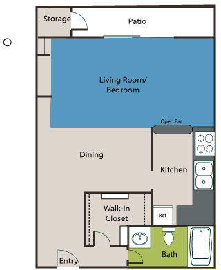 523 sq. ft. Eff floor plan