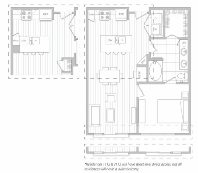 752 sq. ft. F floor plan
