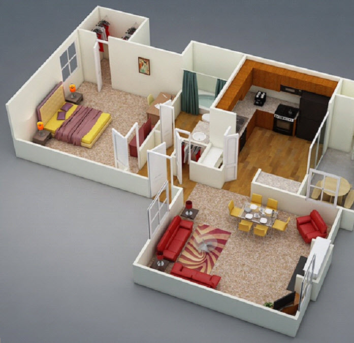 575 sq. ft. C1 floor plan