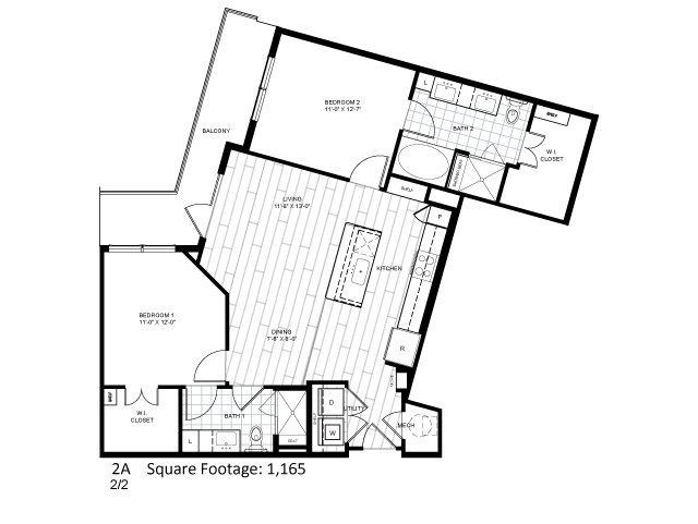 1,165 sq. ft. 2A floor plan