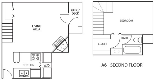743 sq. ft. A6 floor plan
