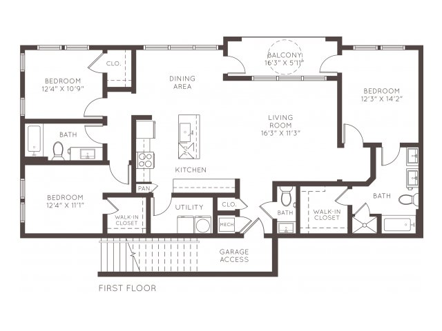 1,555 sq. ft. C2 floor plan