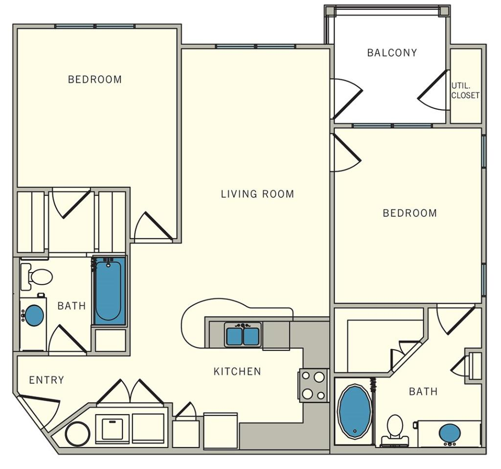 1,025 sq. ft. B2 floor plan