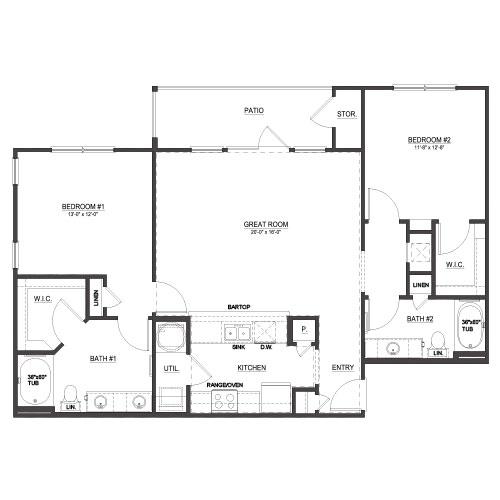 1,208 sq. ft. B2 floor plan