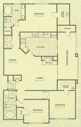 1,352 sq. ft. Charleston floor plan