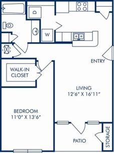 719 sq. ft. A floor plan