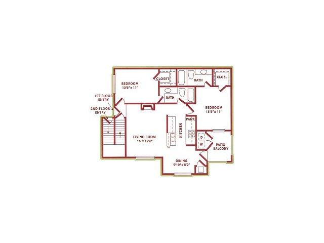 1,000 sq. ft. (B1) Winter floor plan
