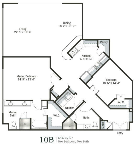 1,432 sq. ft. to 1,724 sq. ft. 10B/11B floor plan