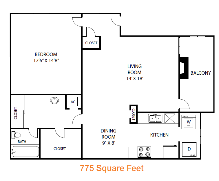 775 sq. ft. Elm floor plan