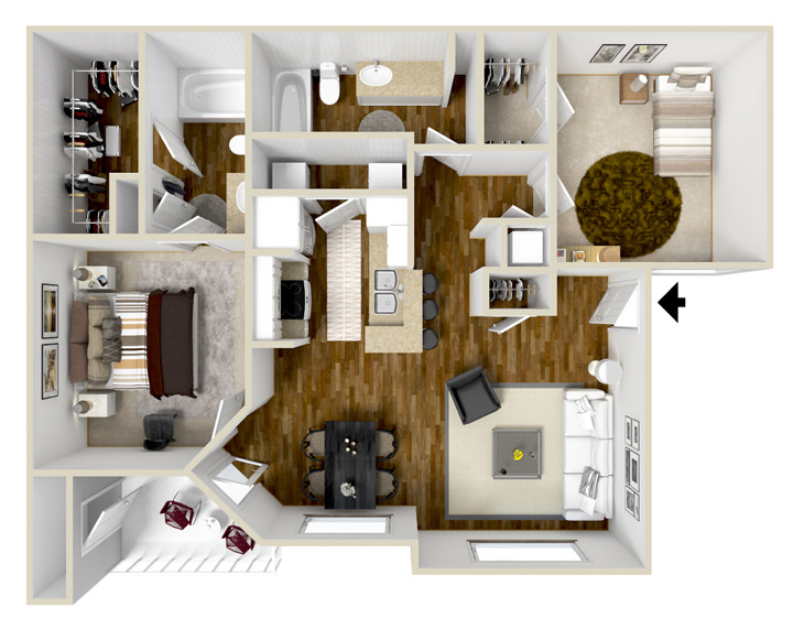 1,067 sq. ft. B1 floor plan