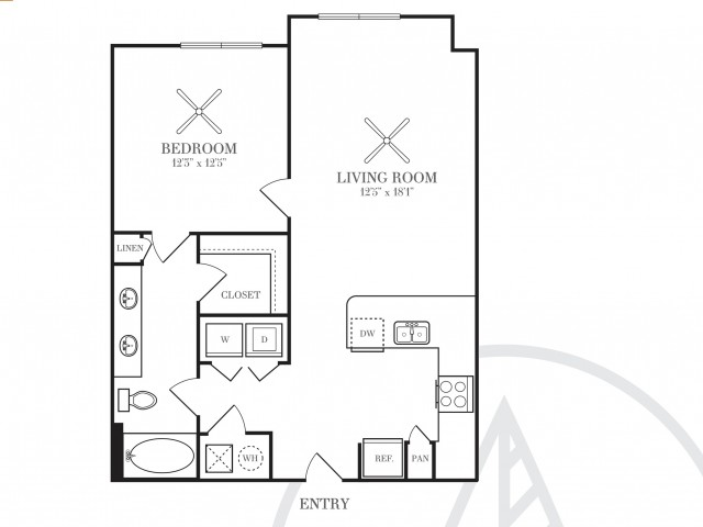 741 sq. ft. A3W floor plan