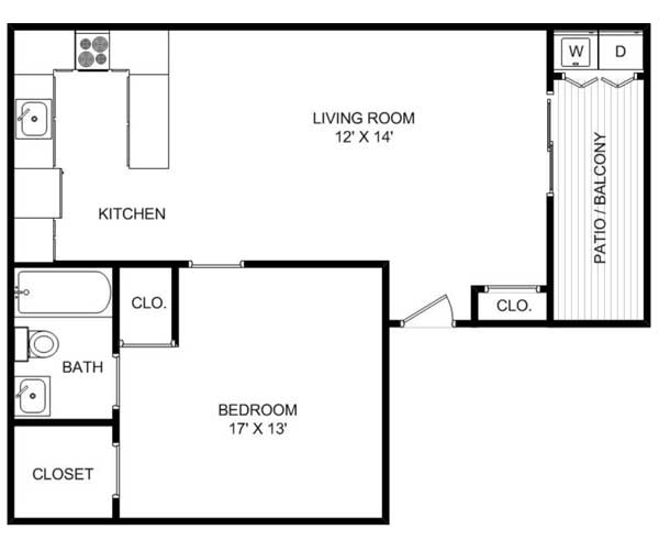 561 sq. ft. floor plan