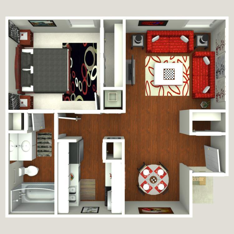 585 sq. ft. Ash floor plan