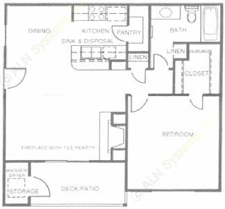730 sq. ft. Crystal floor plan