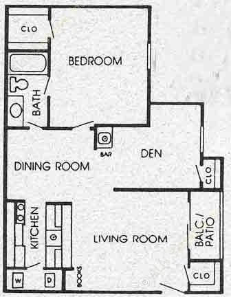 800 sq. ft. H floor plan
