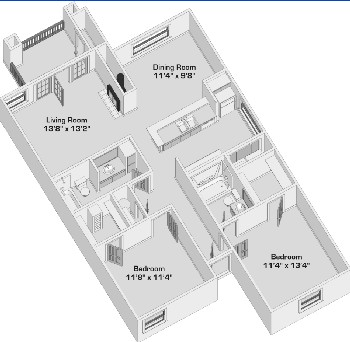 1,101 sq. ft. B-3 floor plan